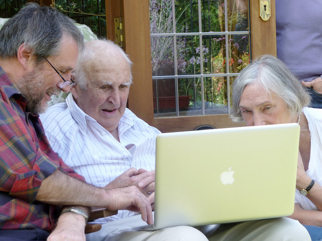 Elderly person using a computer